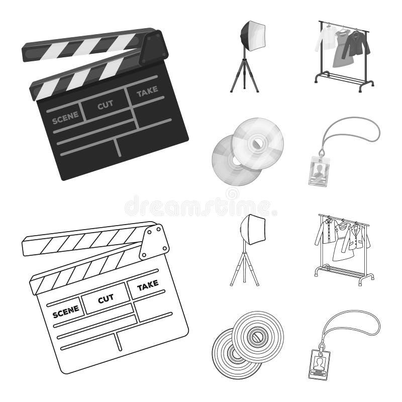 Filmy, dyski i inny wyposażenie dla kina, Robić film ustawiać inkasowym ikonom w konturze, monochromu stylowy wektor royalty ilustracja