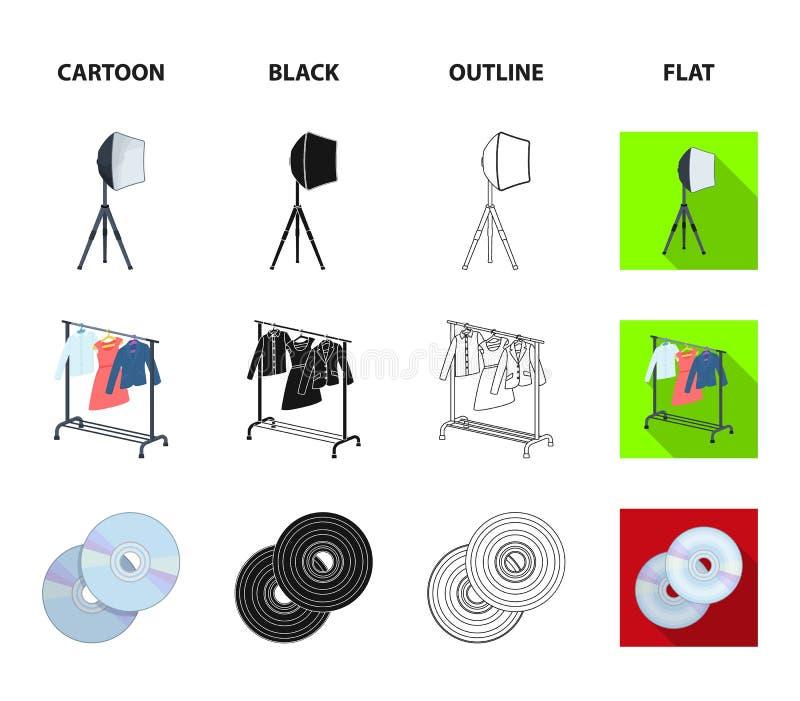 Filmy, dyski i inny wyposażenie dla kina, Robić film ustawiać inkasowym ikonom w kreskówce, czerń, kontur, mieszkanie styl ilustracja wektor