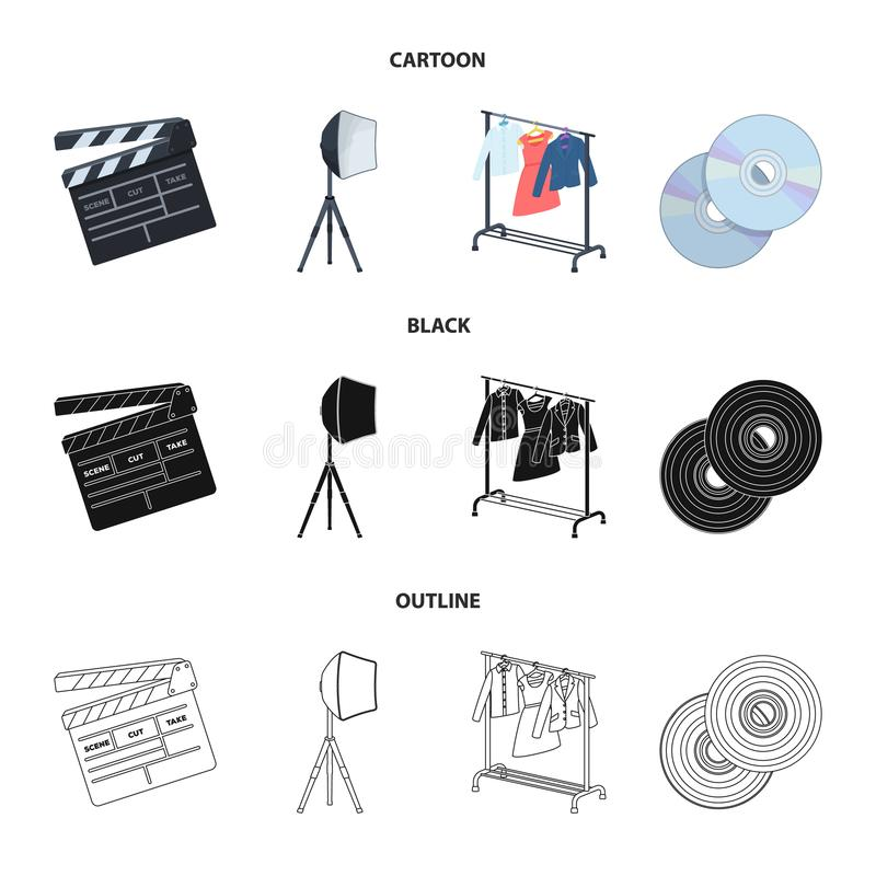 Filmy, dyski i inny wyposażenie dla kina, Robić film ustawiać inkasowym ikonom w kreskówce, czerń, konturu styl ilustracji