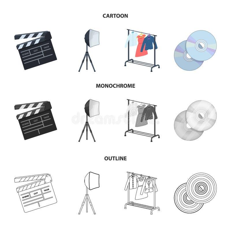 Filmy, dyski i inny wyposażenie dla kina, Robić film ustawiać inkasowym ikonom w kreskówce, kontur, monochromu styl royalty ilustracja