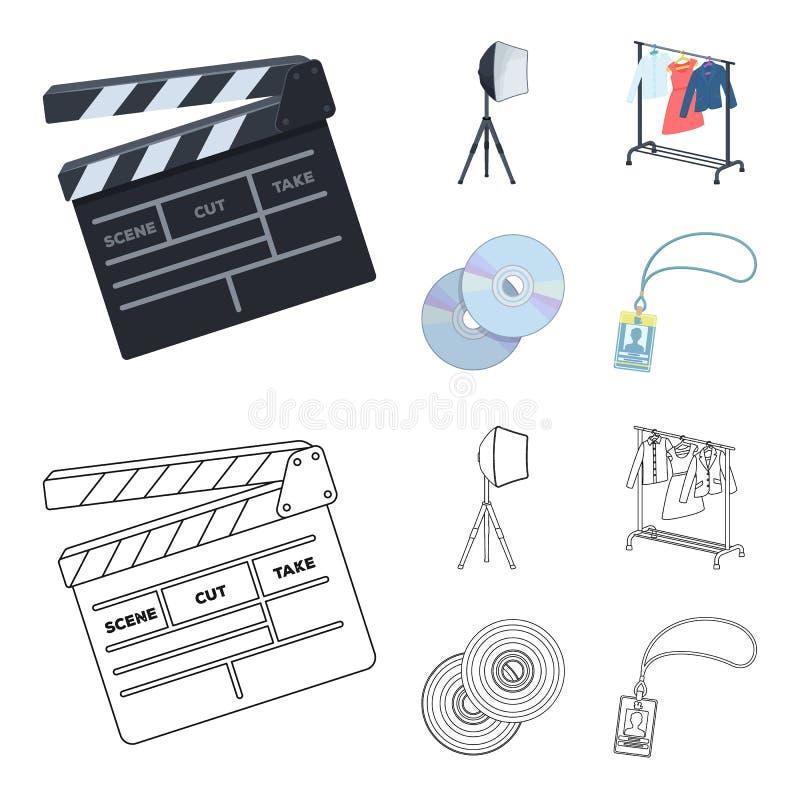 Filmy, dyski i inny wyposażenie dla kina, Robić film ustawiać inkasowym ikonom w kreskówce, konturu stylowy wektor ilustracji