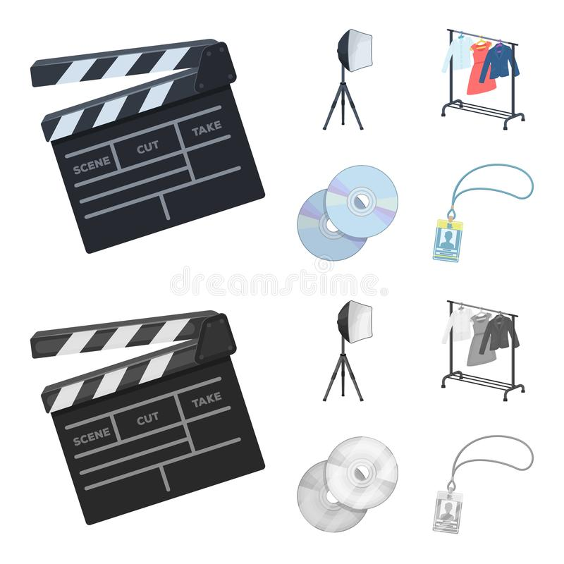 Filmy, dyski i inny wyposażenie dla kina, Robić film ustawiać inkasowym ikonom w kreskówce, monochromu stylowy wektor royalty ilustracja