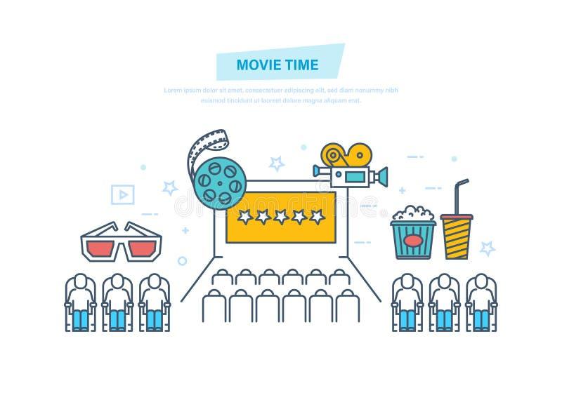 Filmzeit Unterhaltung, Kino, Kino Publikum in der Kinohalle stock abbildung