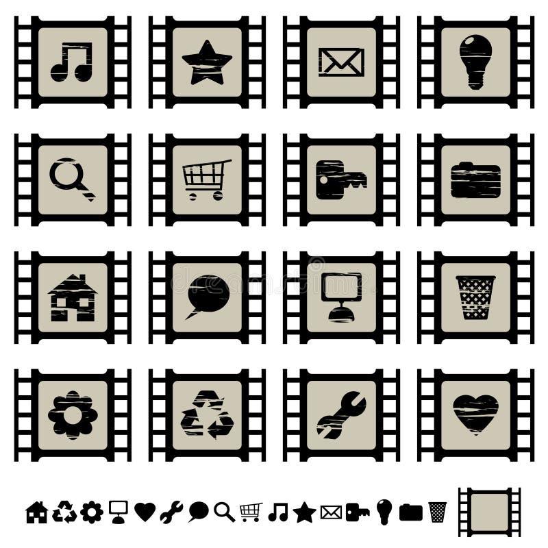Filmzellenikonen stellten 1 ein lizenzfreie abbildung