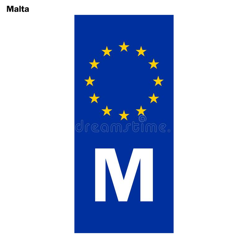 Filnamn för EU-land blå musikband på registreringsskyltar vektor illustrationer
