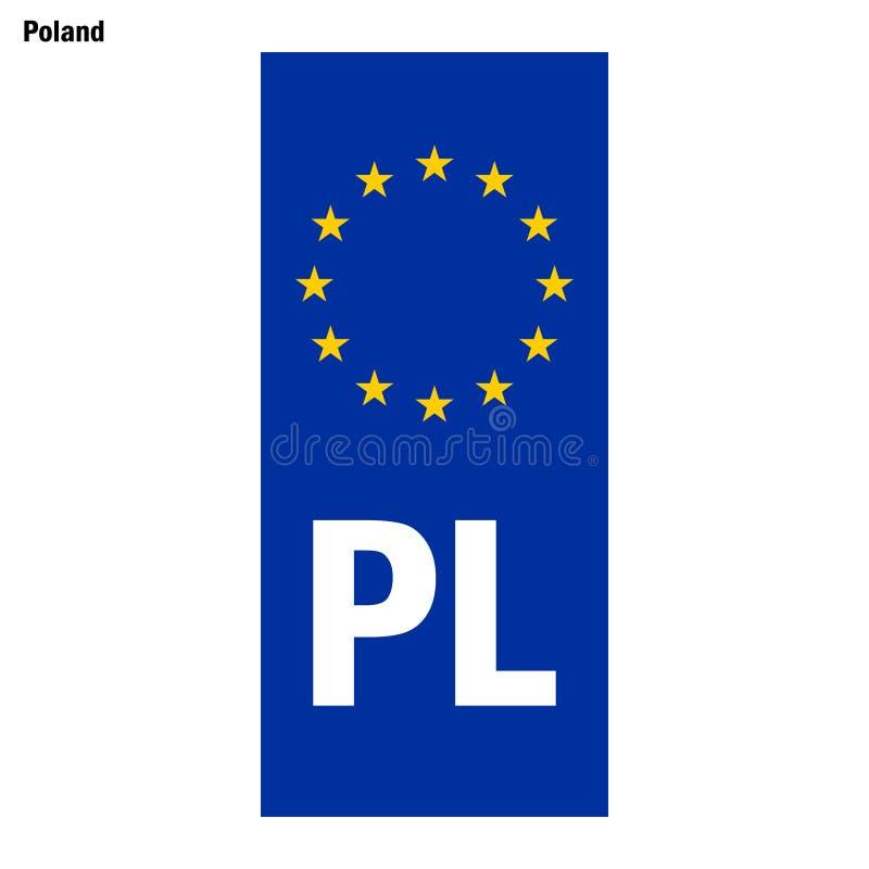 Filnamn för EU-land blå musikband på registreringsskyltar royaltyfri illustrationer