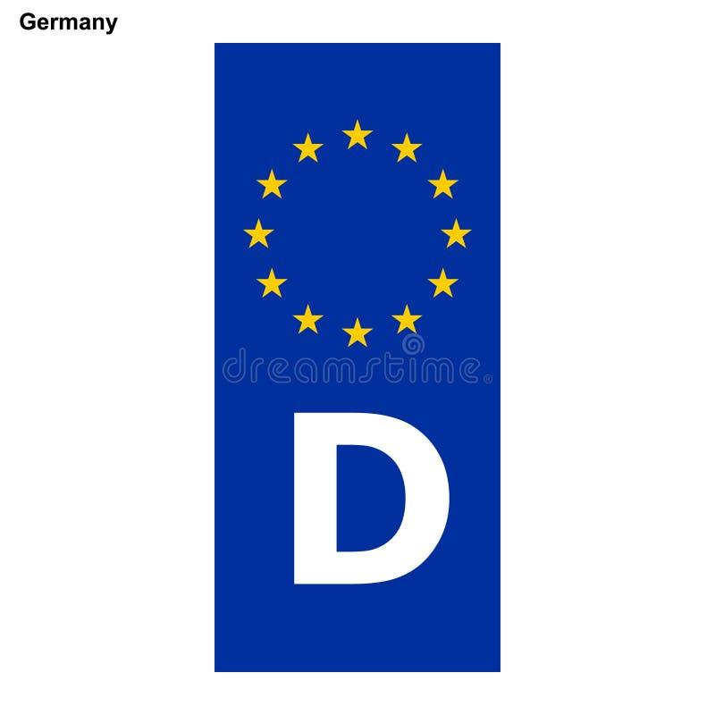 Filnamn för EU-land blå musikband på registreringsskyltar stock illustrationer