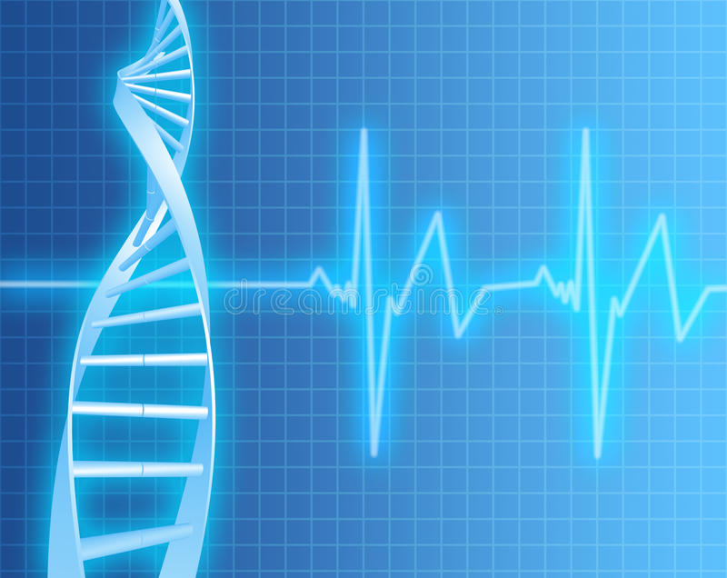 Filo del DNA e frequenza cardiaca illustrazione di stock