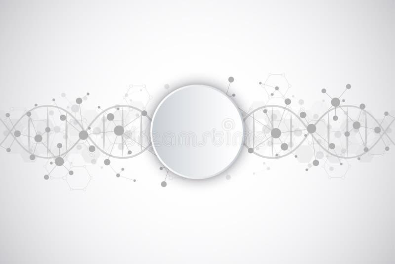 Filo del DNA e struttura molecolare Ingegneria o ricerca genetica del laboratorio Struttura del fondo per medico o illustrazione vettoriale