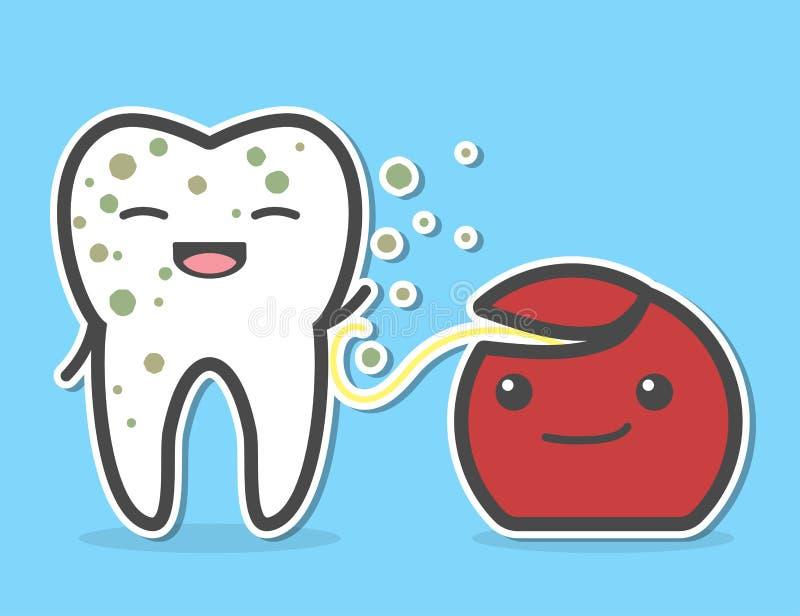Filo per i denti che pulisce dente sporco illustrazione vettoriale
