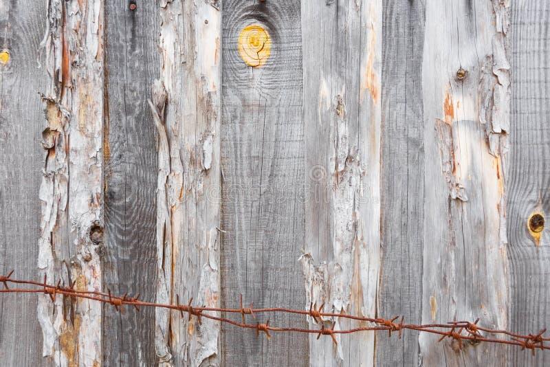 Filo spinato al fondo di un recinto dei bordi anziani grigi immagine stock libera da diritti