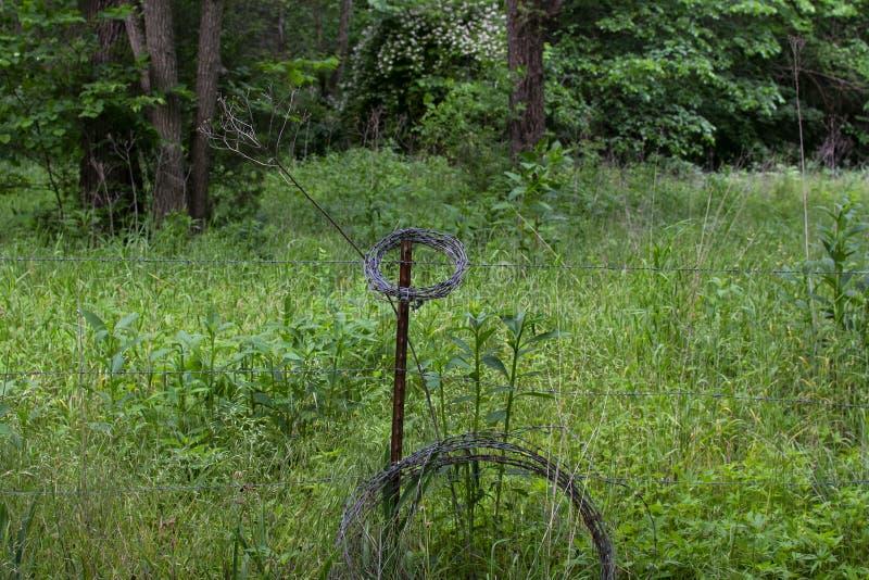Filo spinato e posta nel campo verde immagini stock libere da diritti