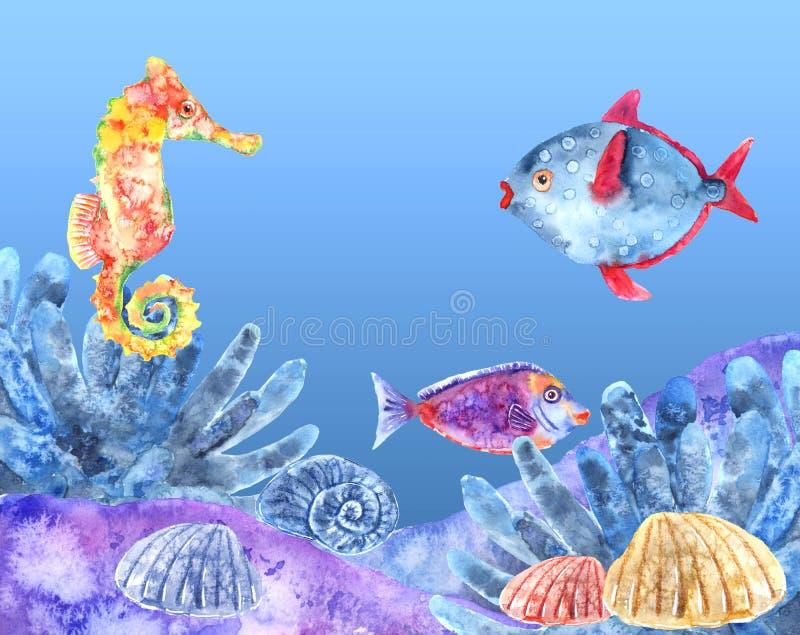 Filones de la vida marina y ejemplo subacuáticos de la acuarela de la fauna con los pescados y el seahorse fotos de archivo