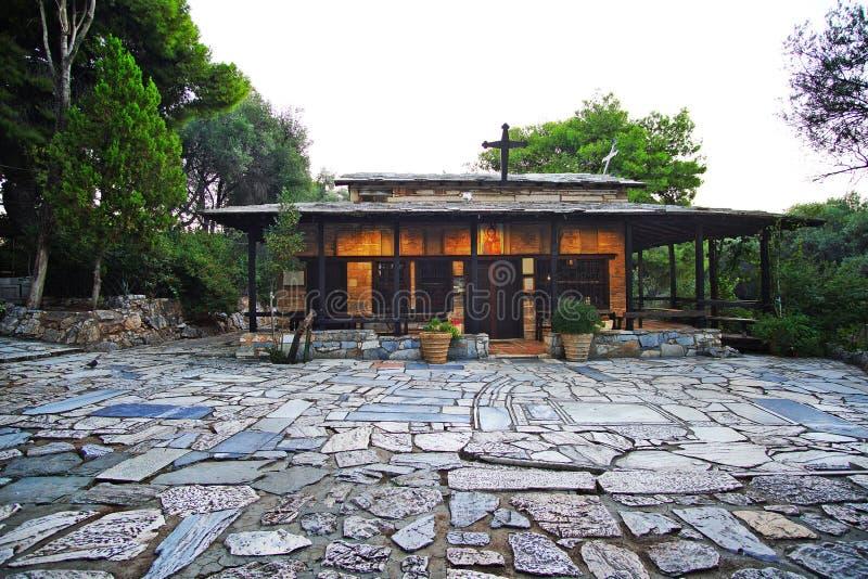 Filopappou小山的小木教会,在雅典 库存图片