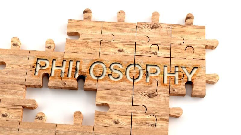 Filosofía compleja y confusa: aprender el concepto complicado, duro y difícil de la filosofía, en forma de trozos de madera ilustración del vector