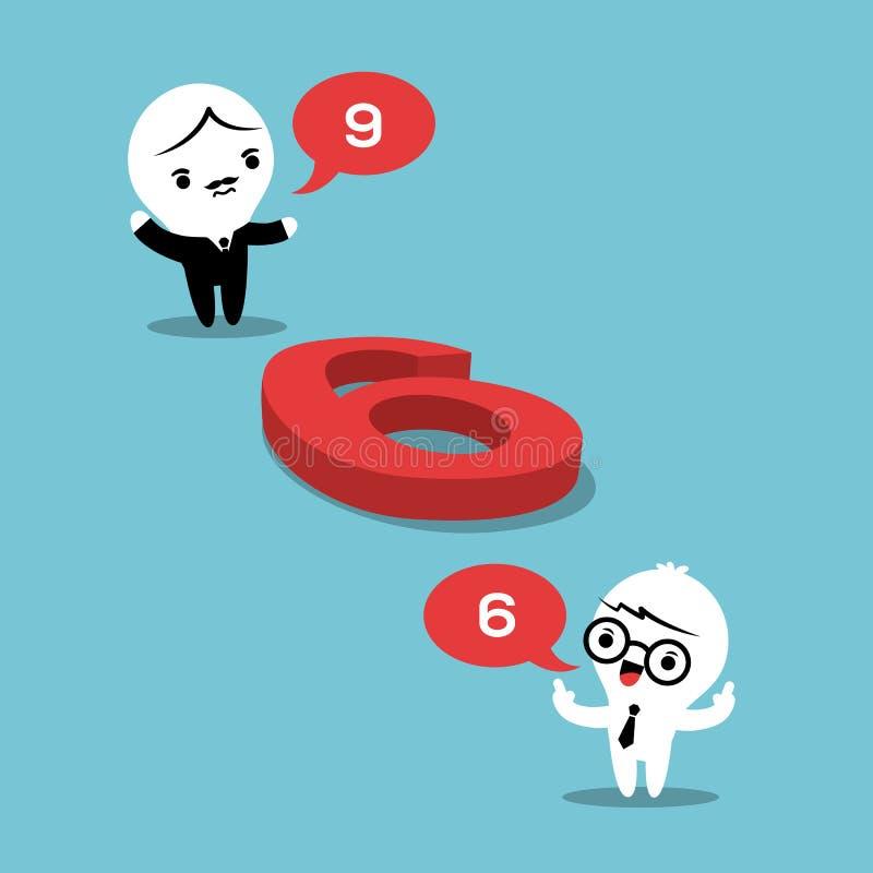 Filosofibegreppsillustration med två affärsmän i argument royaltyfri illustrationer