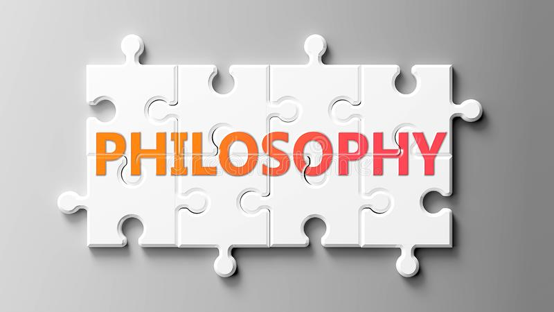 Filosofisch complex als een puzzel - als woord filosofie op een puzzelstukjes gebeeld om aan te tonen dat de filosofie moeilijk e stock illustratie