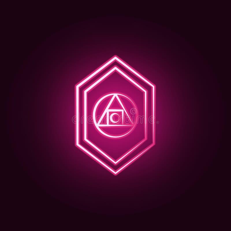 Filozof neonowa ikona Elementy Szalenie nauka set Prosta ikona dla stron internetowych, sieć projekt, mobilny app, ewidencyjne gr ilustracja wektor