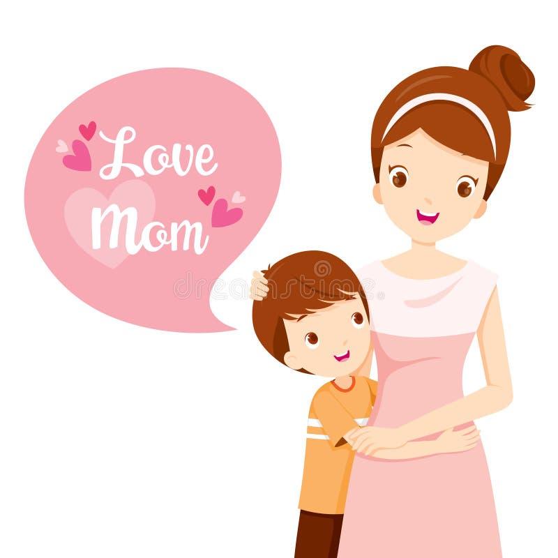Fils étreignant sa mère illustration stock