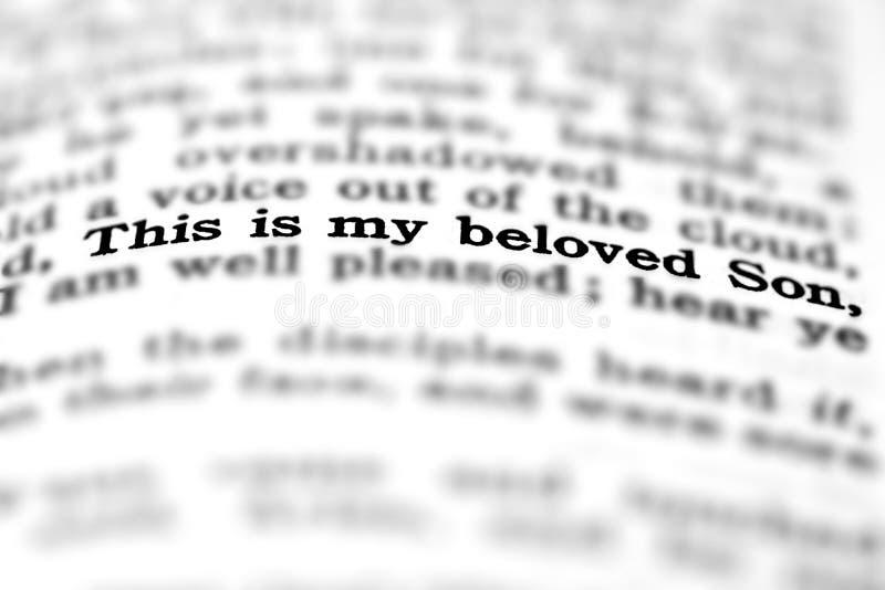 Fils aimé de citation d'écriture sainte de nouveau testament photo stock