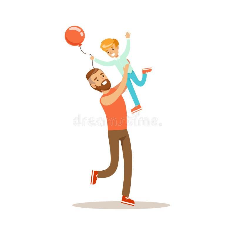 Fils de lancement de papa dans le ciel, temps affectueux de papa d'Enjoying Good Quality de père avec l'enfant heureux illustration stock