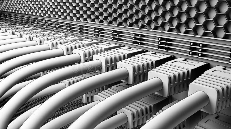 Fils et connecteurs fonctionnants de serveur Opacifiez les technologies, ISP, concepts informatiques d'affaires 3D rendu, version illustration de vecteur