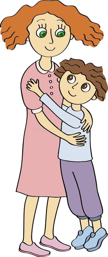 Fils et mère Le jour de mères illustration de vecteur