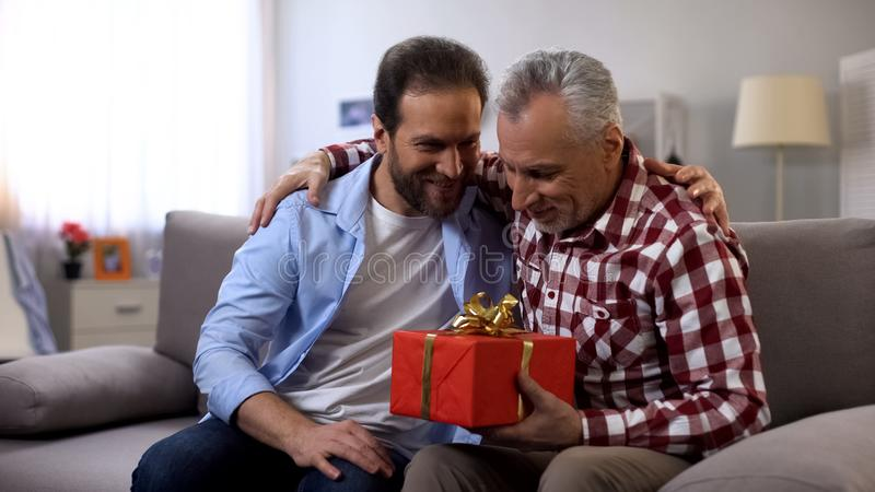 Fils et père embrassant, boîte-cadeau se tenant masculin, recevant des salutations, anniversaire photos stock