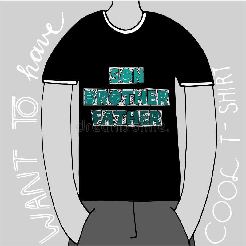 Fils, frère, père - expression de vecteur Marquant avec des lettres avec le modèle pour des copies, affiches, cartes, T-shirts, s illustration stock