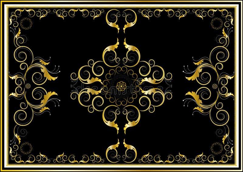 filt för prydnadar för mörk guld för bakgrund orientalisk stock illustrationer