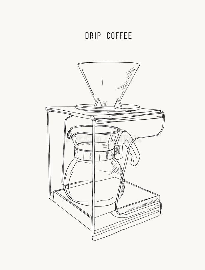 Download Filter Drip Coffee Machine Sketch Vector Stock