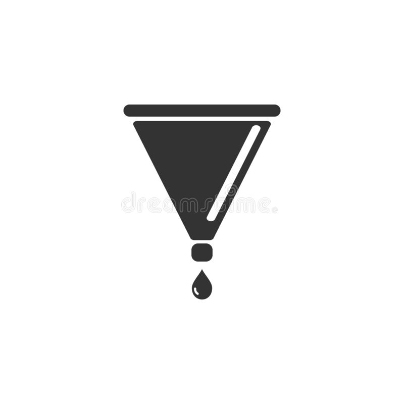Filter funnel icon flat. Filter funnel. Black Icon Flat on white background stock illustration