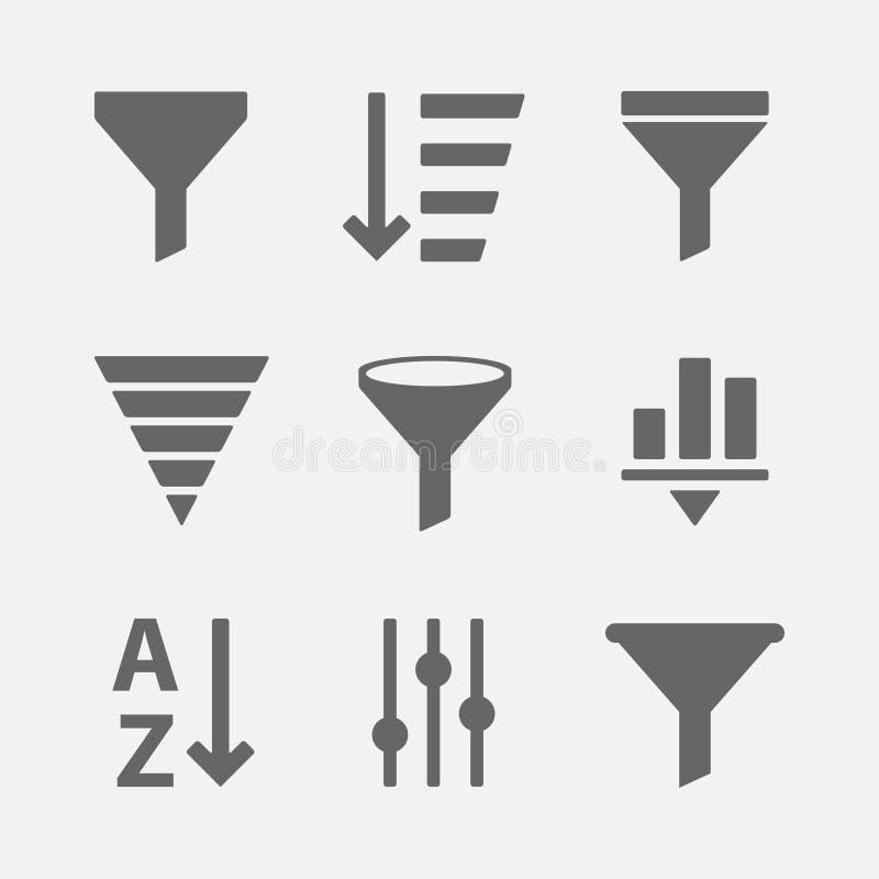 Filter icon vector set stock illustration