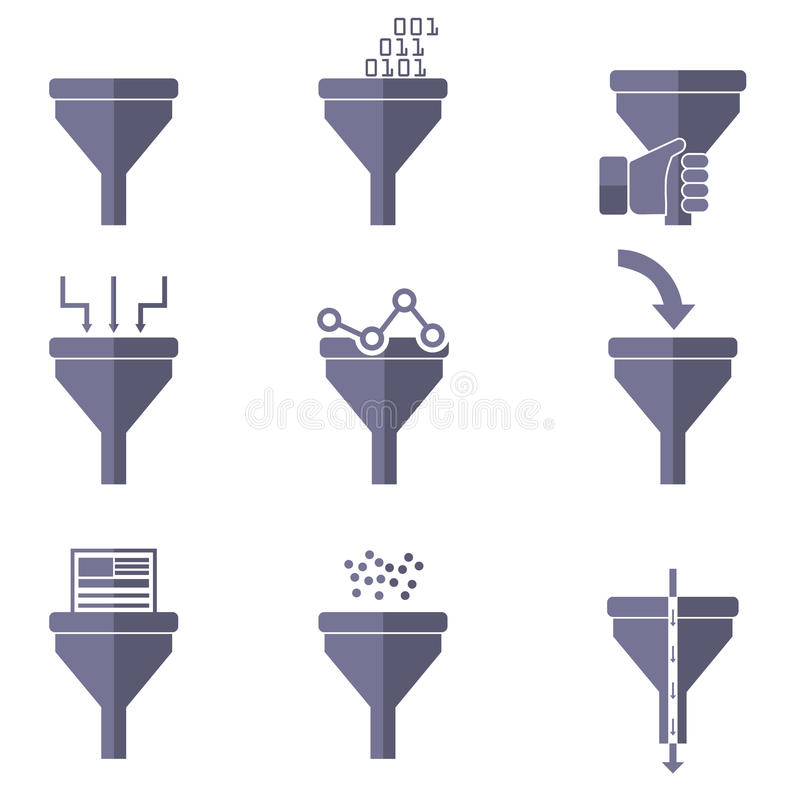 Filter icons, data filter, data tunnel icons set, analysis concept.  vector illustration