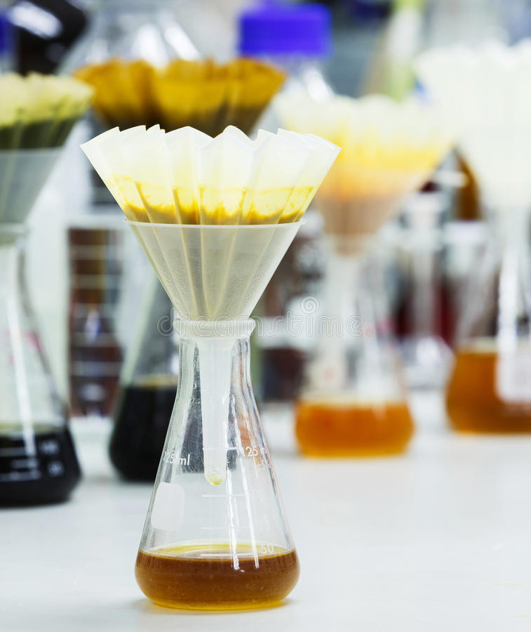 Filter samples with fluted filter paper royalty free stock image