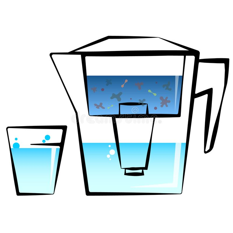 Water filter and glass. Filter tank and glass of clean water stock illustration