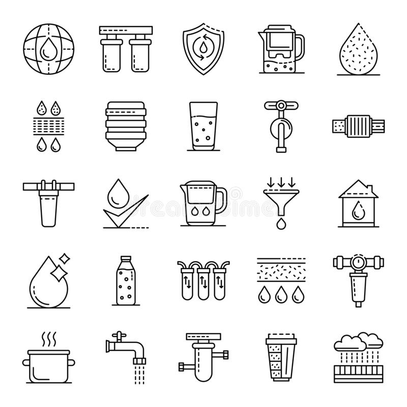 Filter water icons set, outline style stock illustration
