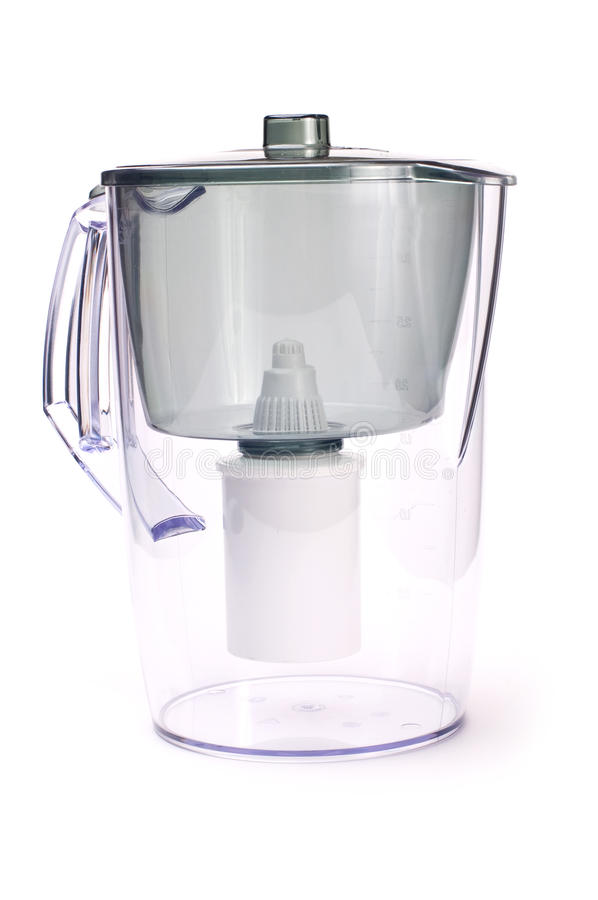 Filter for water treating. The household filter for water treating on a white background stock photo