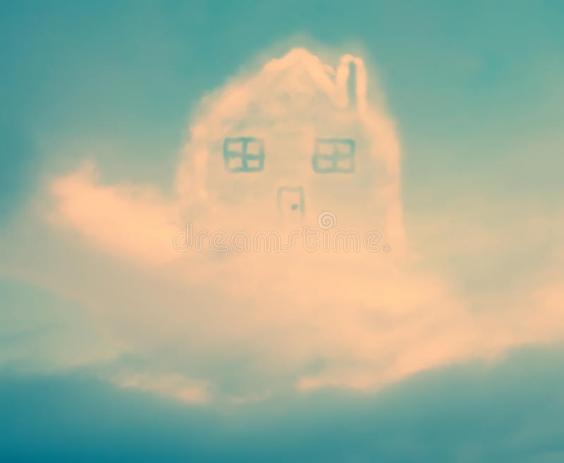 Filtered cloud house. Abstract color filtered background with dream house in sky made from clouds royalty free stock photo