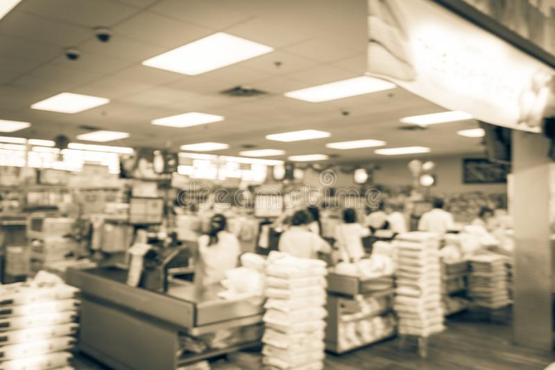 Filtered image blurry background checkout counter at Asian supermarket in USA stock images