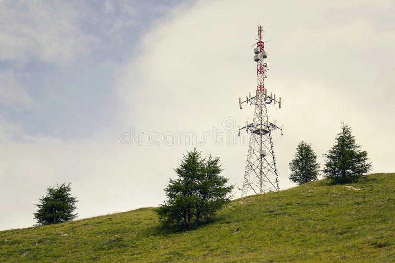 Download Filtered Telecommunication Tower On Hill With Copy Space Stock Image - Image of information, network: 83708891