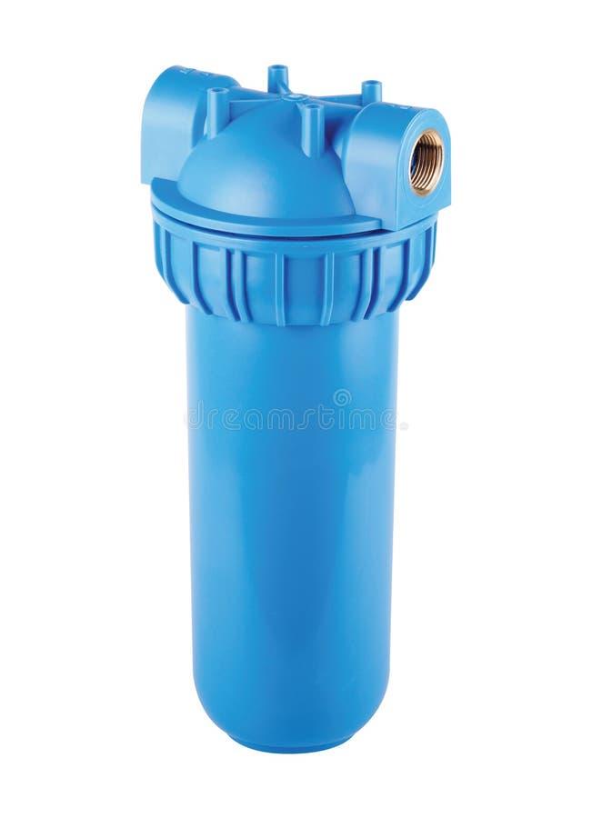 Filterflasche blau, Plastik-, kaltes haupts?chlichwasser Lokalisierter wei?er Hintergrund Zu Qualit?tswasserquellen, mit Wasser v lizenzfreies stockfoto
