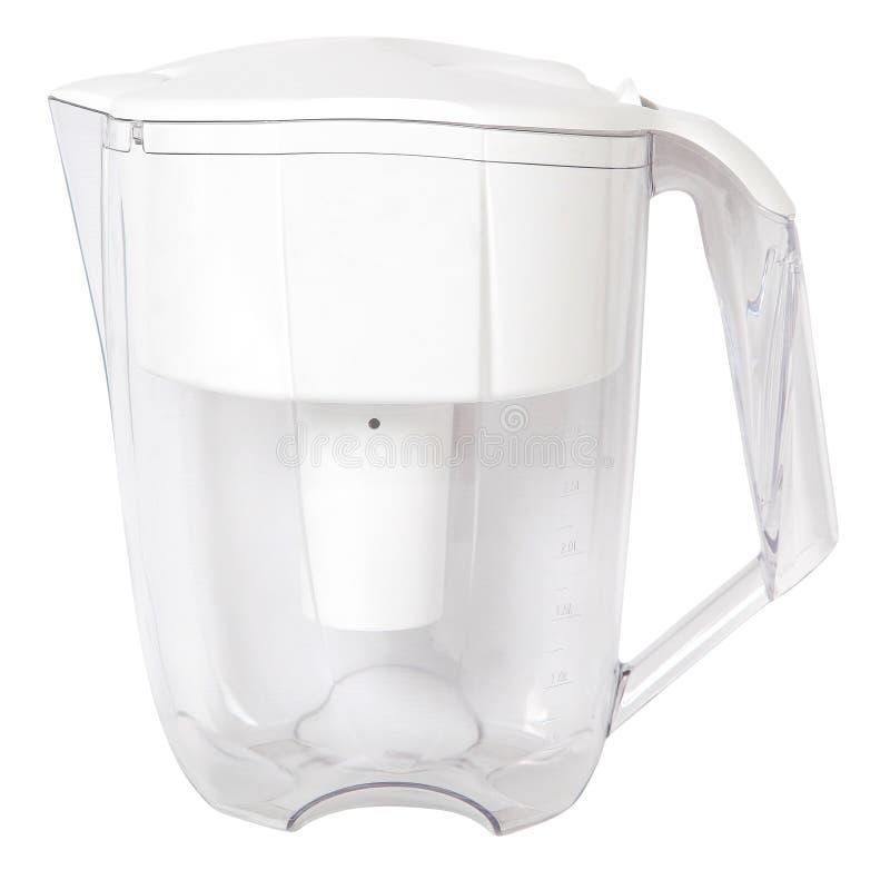 Filterkruik voor het schoonmaken van water voor geïsoleerde reiniging stock foto