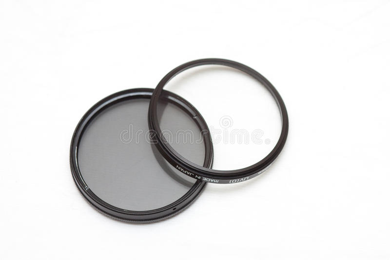 Filters. Close up of Uv and cpl filter stock photography