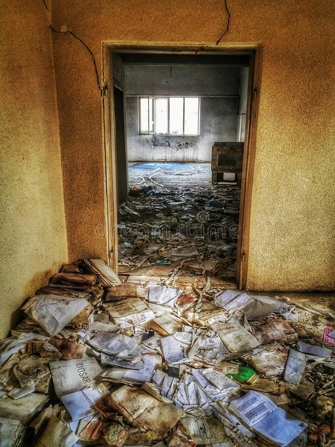 Download FILTH stock image. Image of door, papers, building, deserted - 108748131