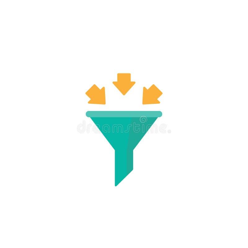 Filtre vert de données avec les flèches jaunes icône plate d'entonnoir de données D'isolement sur le fond blanc Infos d'Analytics illustration libre de droits