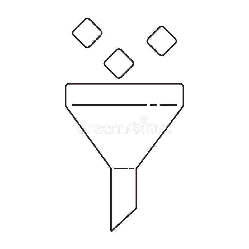 Filtrera den linjära symbolen för system Tunn linje illustrationdesign vektor illustrationer