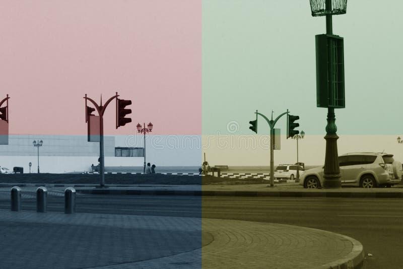 Filtrerad Ajman Corniche gata, ARABISKA EMIRATER för DUBAI-UNITED PÅ 21 JUNI 2017 royaltyfri fotografi