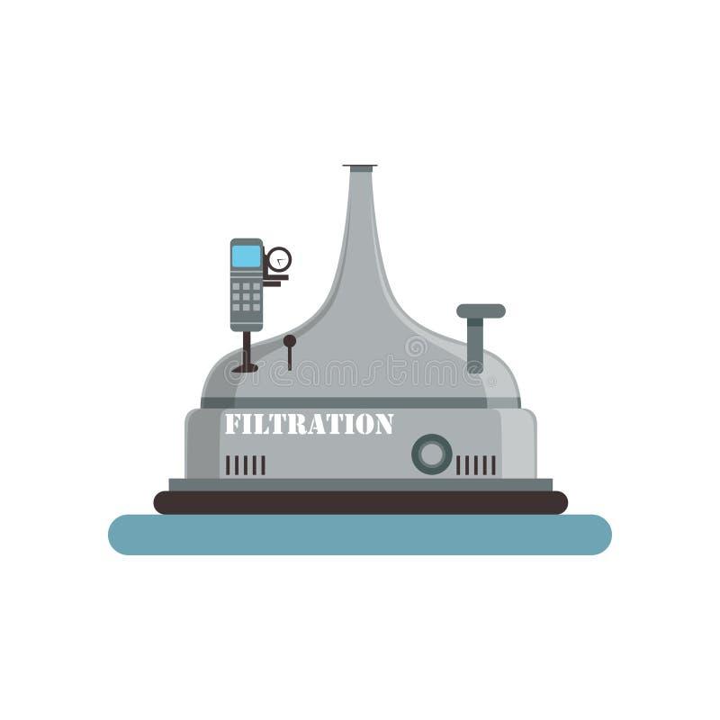 Filtreringölbehållare som bryggar produktionsprocessvektorillustrationen på en vit bakgrund stock illustrationer