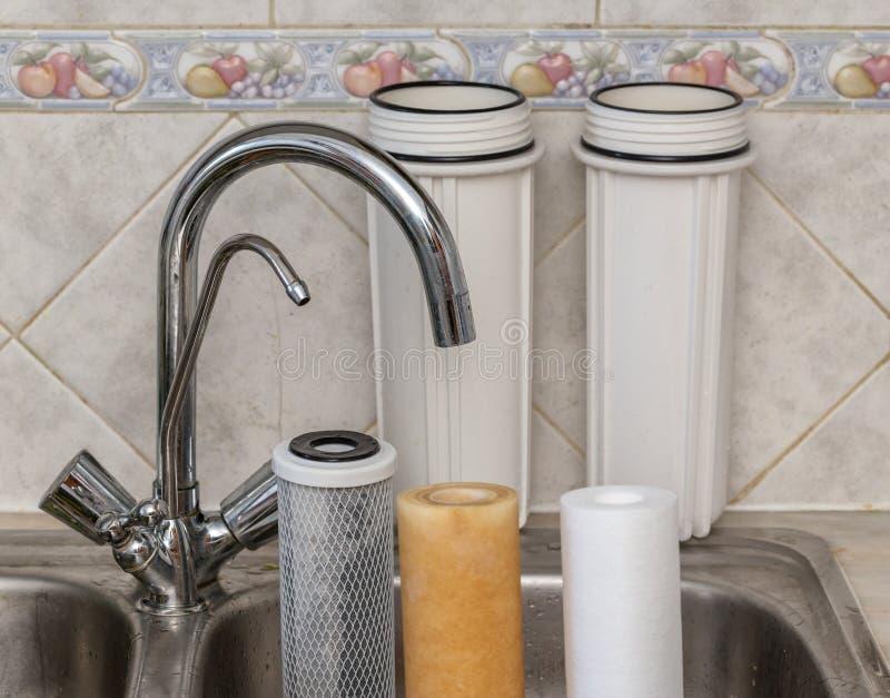 Filtres pour la purification de l'eau potable  Propre et modifié images libres de droits